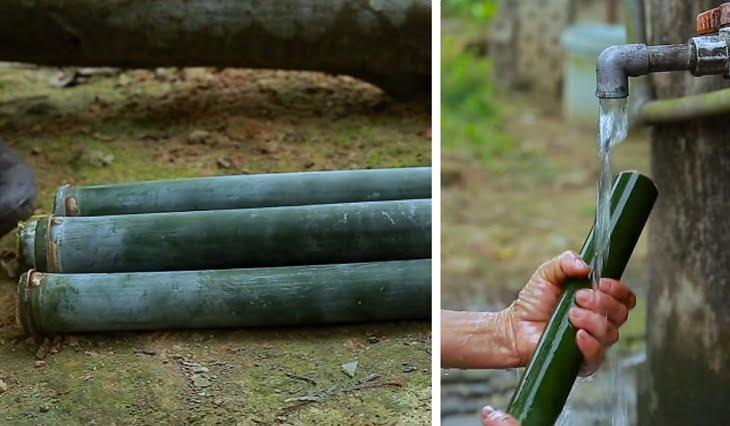 Ống tre làm cơm lam phải được rửa sạch trước khi cho gạo vào